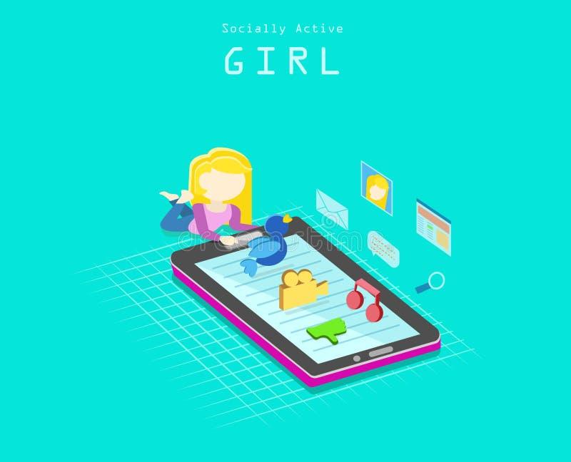 Κοινωνικά ενεργό κορίτσι στοκ φωτογραφία