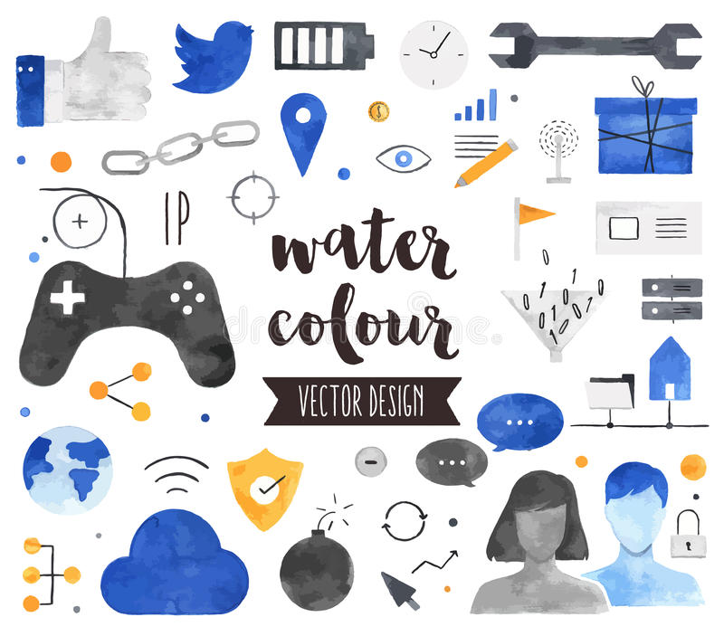 Κοινωνικά διανυσματικά αντικείμενα Watercolor σύνδεσης ελεύθερη απεικόνιση δικαιώματος