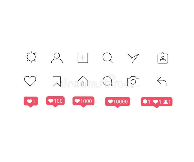 Κοινωνικά κουμπιά διεπαφών Instagram μέσων, εικονίδια: σπίτι, κάμερα, σχόλιο, αναζήτηση, κάμερα φωτογραφιών, καρδιά, όπως, χρήστη διανυσματική απεικόνιση