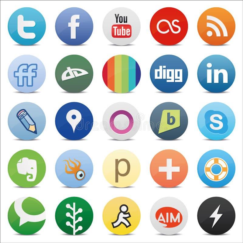 Κοινωνικά κουμπιά μέσων ελεύθερη απεικόνιση δικαιώματος