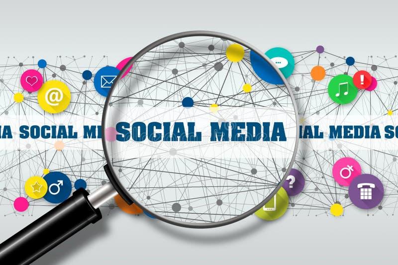 Κοινωνικά μέσα έννοιας Άποψη μέσω της ενίσχυσης - κοινωνικό MEDIA επιγραφής γυαλιού στα πλαίσια διάφορου διανυσματική απεικόνιση