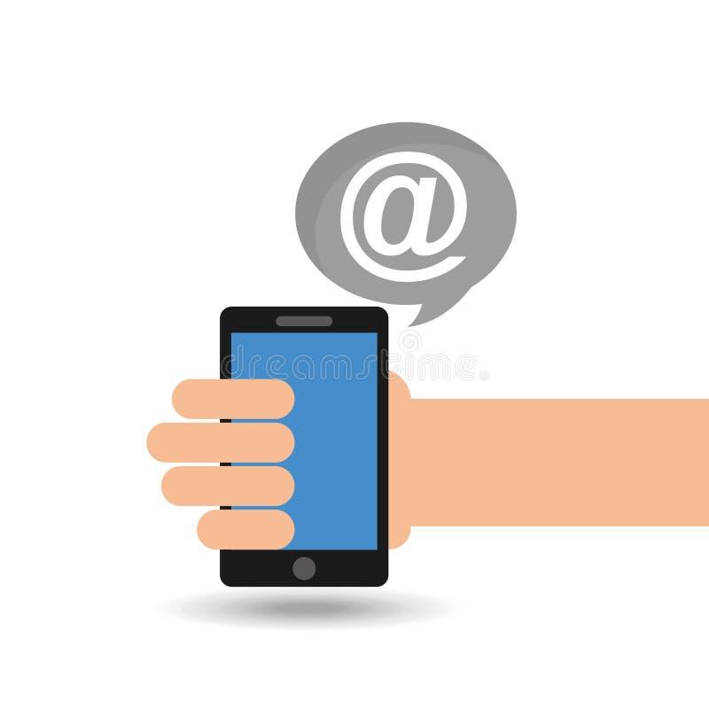 Κοινωνικά μέσα έννοιας, ταχυδρομείο smartphone εκμετάλλευσης χεριών απεικόνιση αποθεμάτων