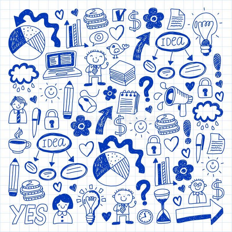 Κοινωνικά μέσα και επιχειρησιακά εικονίδια Σχέδια σε χαρτί σημειωματάριων Διαχείριση, ομαδική εργασία Διανυσματική απεικόνιση μελ διανυσματική απεικόνιση