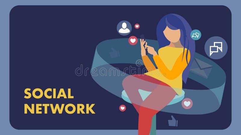 Κοινωνικά μέσα, κοινωνικό πρότυπο εμβλημάτων δικτύων επίπεδο ελεύθερη απεικόνιση δικαιώματος