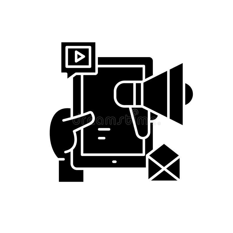 Κοινωνικά μέσα που εμπορεύονται το μαύρο εικονίδιο δικτύων, διανυσματικό σημάδι στο απομονωμένο υπόβαθρο Κοινωνικά μέσα που εμπορ απεικόνιση αποθεμάτων