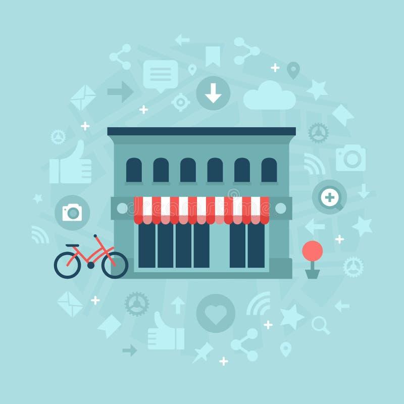 Κοινωνικά μέσα στην τοπική επιχείρηση διανυσματική απεικόνιση