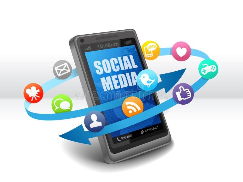 Κοινωνικά μέσα στο κινητό τηλέφωνο διανυσματική απεικόνιση