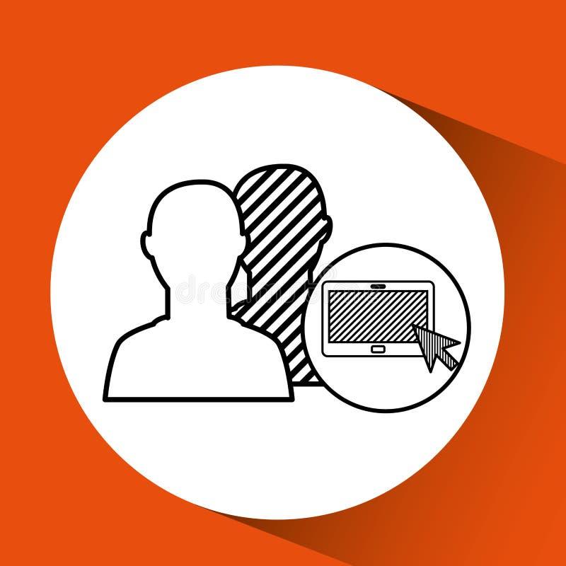 Κοινωνικά μέσα ταμπλετών σκιαγραφιών συνδεδεμένα κεφάλι ελεύθερη απεικόνιση δικαιώματος