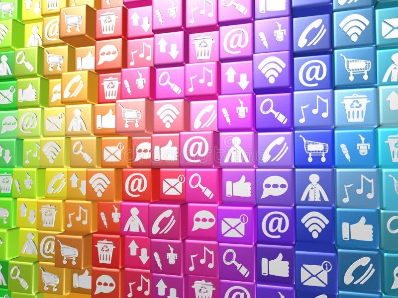 Κοινωνικά μέσα, τρισδιάστατη απεικόνιση διανυσματική απεικόνιση