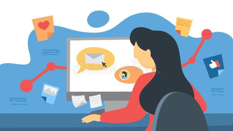 Κοινωνικά μέσα SMM που εμπορεύονται την έννοια Διαφήμιση της επιχείρησης διανυσματική απεικόνιση