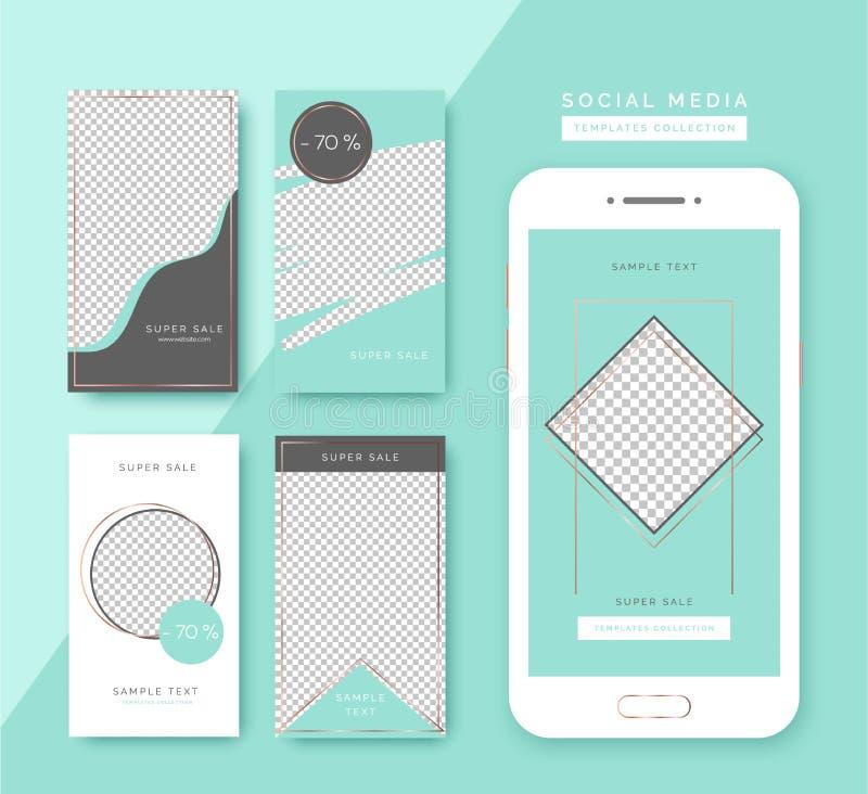 Κοινωνικά πρότυπα ιστοριών μέσων καθορισμένα Καθιερώνοντα τη μόδα υπόβαθρα για τα κοινωνικά μέσα, smartphone app ελεύθερη απεικόνιση δικαιώματος
