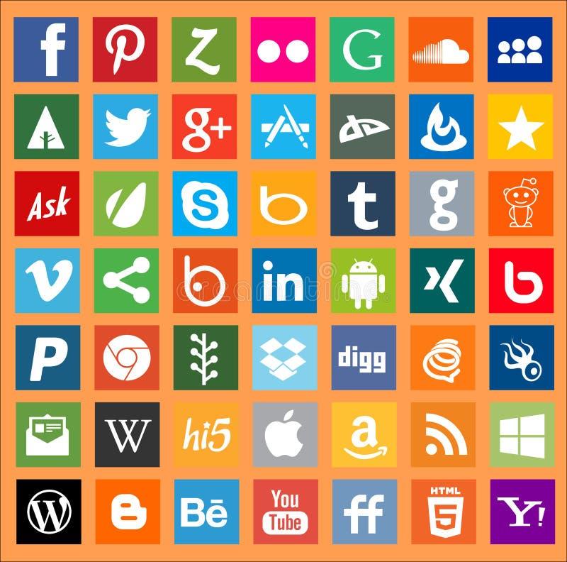 Κοινωνικά σημάδια λογότυπων δικτύωσης μέσων Apps ελεύθερη απεικόνιση δικαιώματος