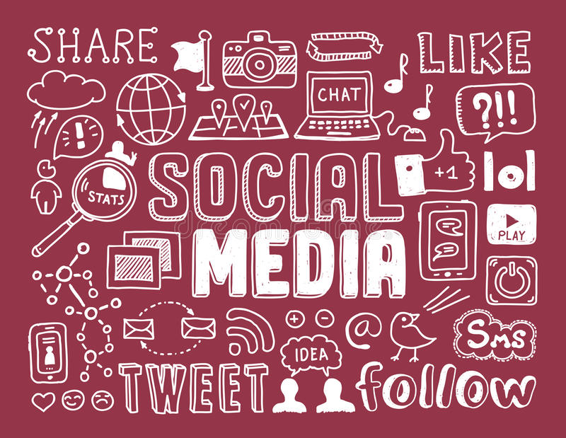 Κοινωνικά στοιχεία μέσων doodles ελεύθερη απεικόνιση δικαιώματος