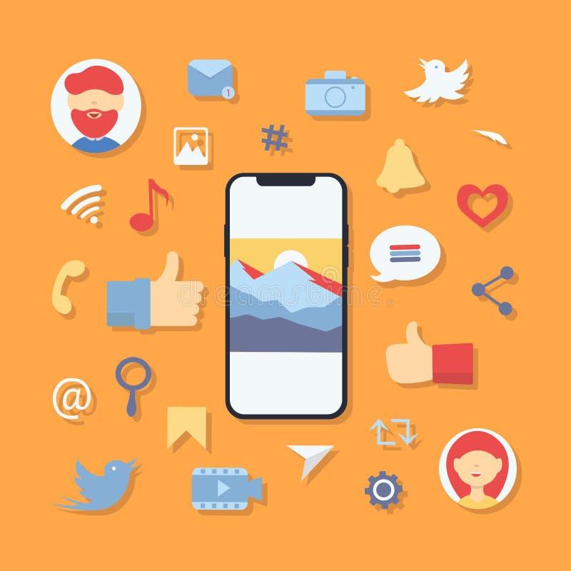 Κοινωνικά σύμβολα εικονιδίων μέσων απεικόνιση αποθεμάτων