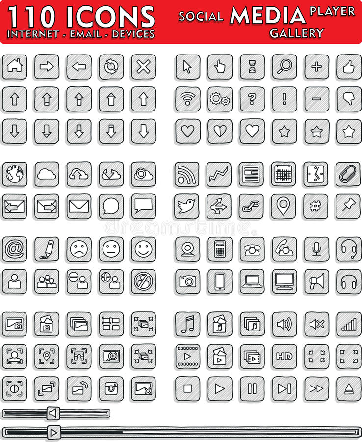Κοινωνικά Hand-Drawn εικονίδια μέσων - 110 εικονίδια καθορισμένα απεικόνιση αποθεμάτων