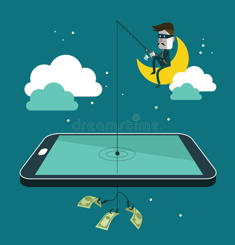 Κοινωνικά stealing χρήματα κλεφτών δικτύων με την αλιεία dol διανυσματική απεικόνιση