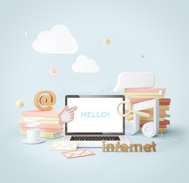 Κοινωνικές δίκτυο και έννοια Διαδικτύου ελεύθερη απεικόνιση δικαιώματος