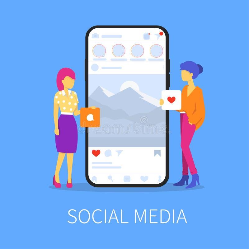 Κοινωνικές δίκτυο μέσων και γυναίκα δύο ελεύθερη απεικόνιση δικαιώματος
