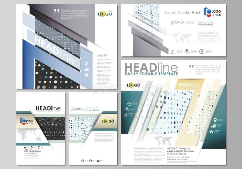 Κοινωνικές θέσεις μέσων καθορισμένες πρότυπα ύφους επιχειρησιακής εταιρικά απεικόνισης Επίπεδο πρότυπο ύφους, σχεδιαγράμματα με τ διανυσματική απεικόνιση