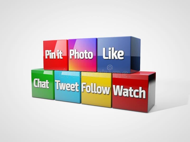Κοινωνικές μέσα και έννοια δικτύωσης: ομάδα χρωματισμένων κύβων με με τις κοινωνικές λέξεις μέσων τρισδιάστατη απεικόνιση διανυσματική απεικόνιση