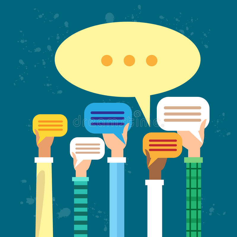 Κοινωνικές φυσαλίδες συνομιλίας χεριών ανθρώπων έννοιας επικοινωνίας δικτύων μέσων διανυσματική απεικόνιση