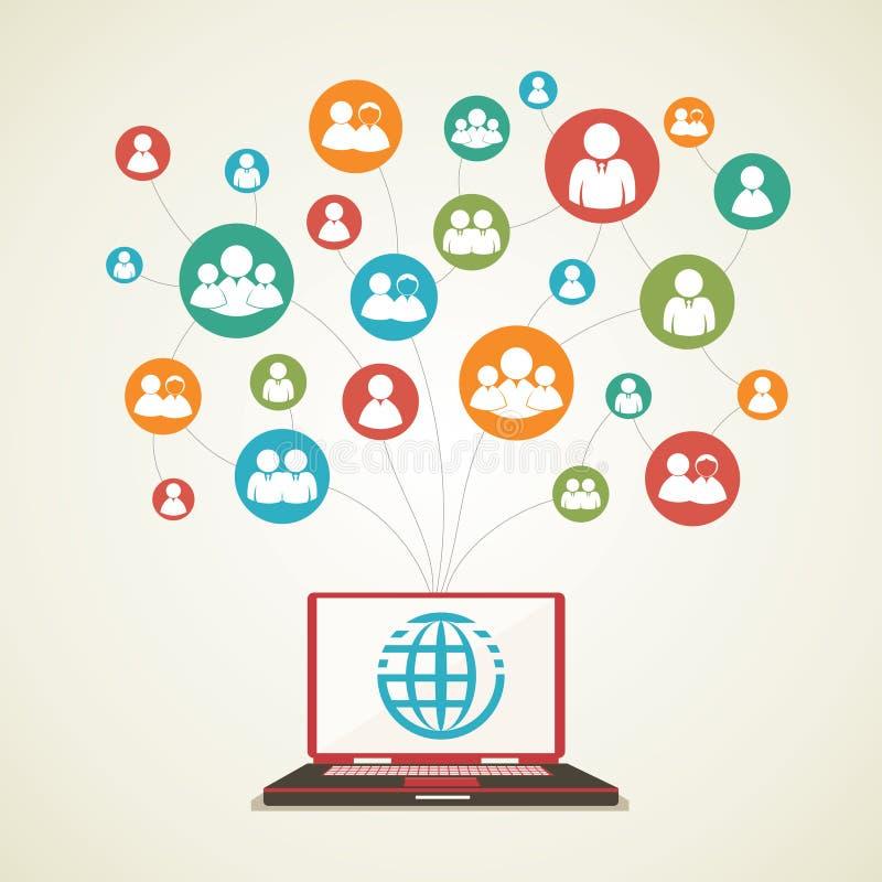 Κοινωνική έννοια δικτύων διανυσματική απεικόνιση
