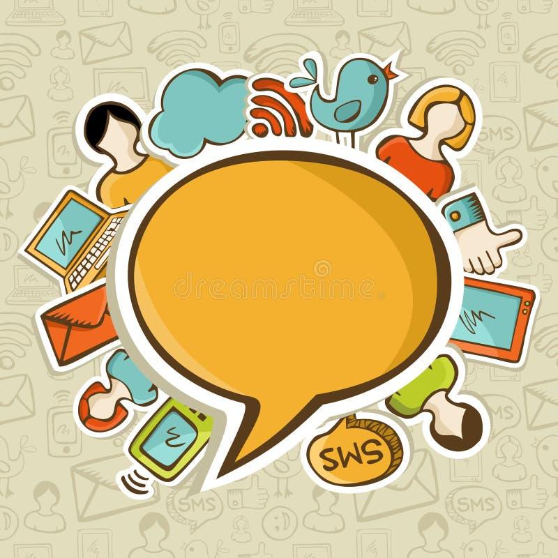 Κοινωνική έννοια επικοινωνίας δικτύων μέσων διανυσματική απεικόνιση