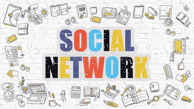 Κοινωνική έννοια δικτύων με τα εικονίδια σχεδίου Doodle ελεύθερη απεικόνιση δικαιώματος