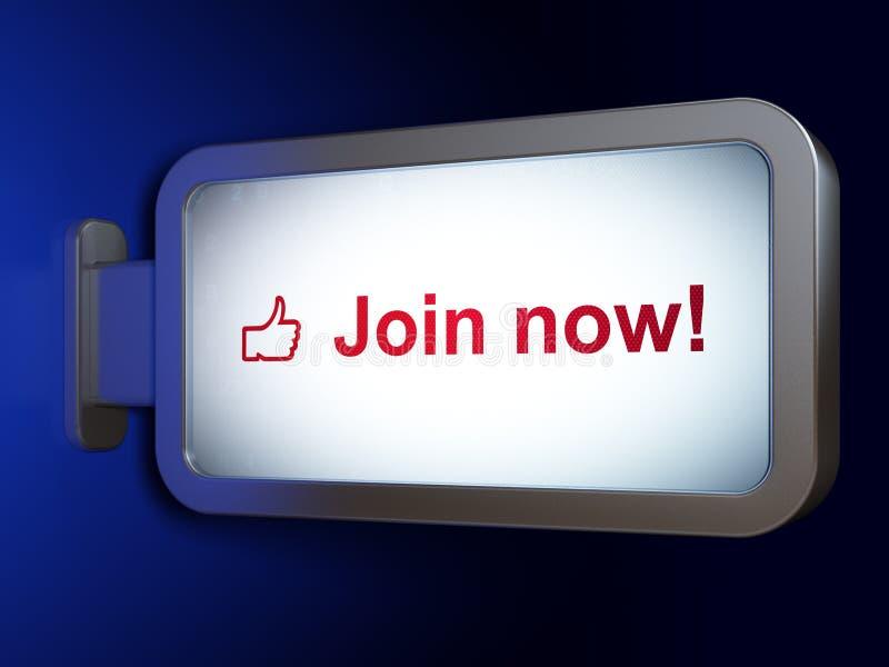 Κοινωνική έννοια μέσων: Ενώστε τώρα! και αντίχειρας επάνω στο υπόβαθρο πινάκων διαφημίσεων ελεύθερη απεικόνιση δικαιώματος
