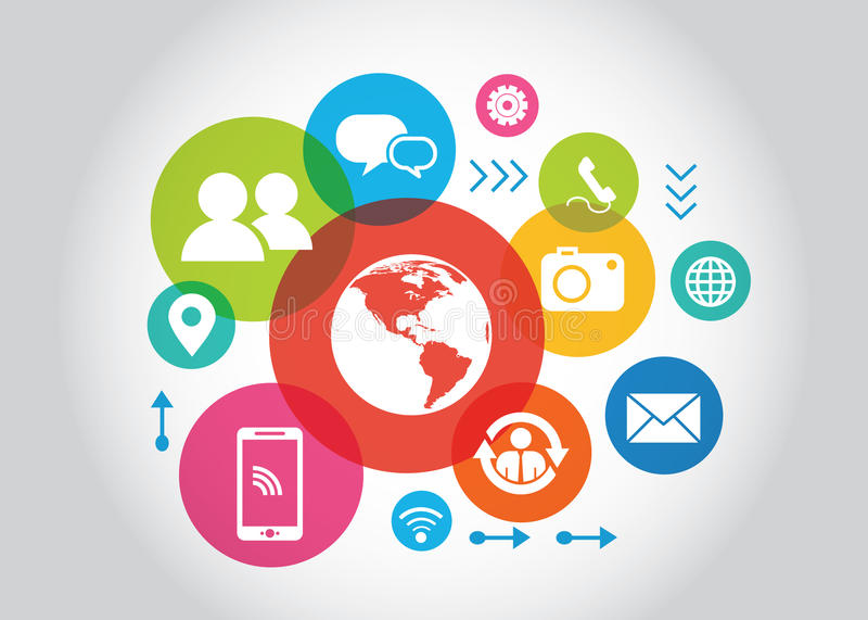 Κοινωνική έννοια μέσων Επικοινωνία στα παγκόσμια δίκτυα υπολογιστών απεικόνιση αποθεμάτων