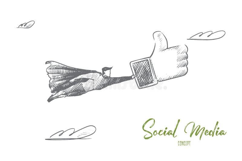 Κοινωνική έννοια μέσων Συρμένο χέρι απομονωμένο διάνυσμα διανυσματική απεικόνιση