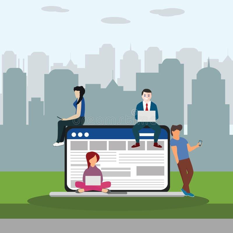 Κοινωνική απεικόνιση έννοιας σερφ ιστοχώρου δικτύων των νέων που χρησιμοποιούν τις κινητές συσκευές όπως το smartphone, το PC ταμ διανυσματική απεικόνιση