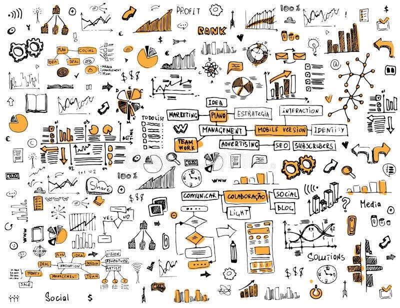 Κοινωνική απεικόνιση δικτύων doodles στο αναδρομικό ύφος απεικόνιση αποθεμάτων