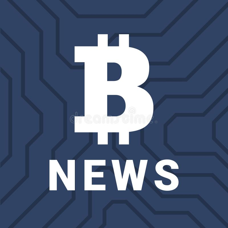 Κοινωνική απεικόνιση με τις ειδήσεις του cryptocurrency Μεγάλο illistration bitcoin διανυσματική απεικόνιση
