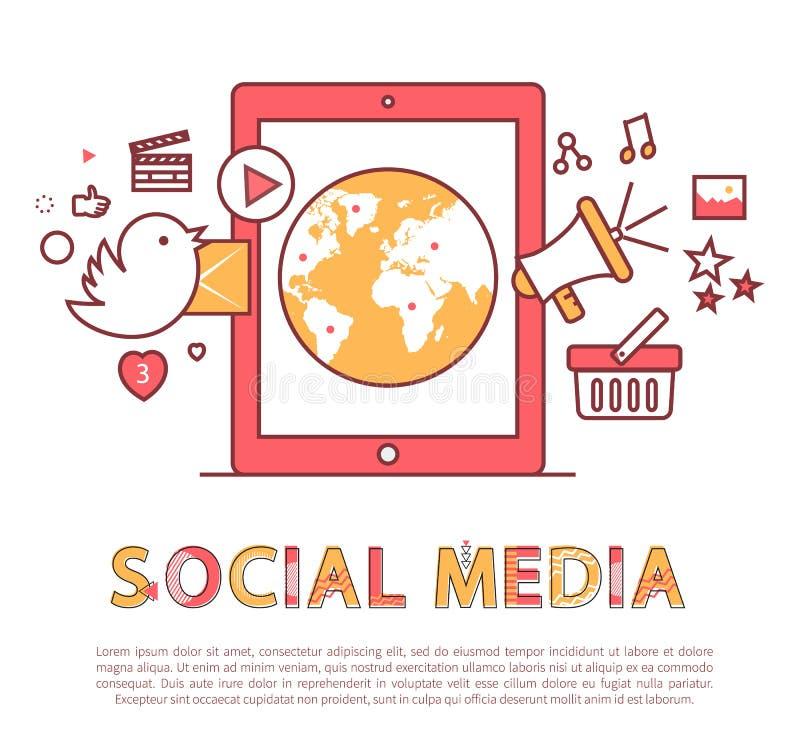 Κοινωνική αφίσα μέσων και διανυσματική απεικόνιση κειμένων διανυσματική απεικόνιση