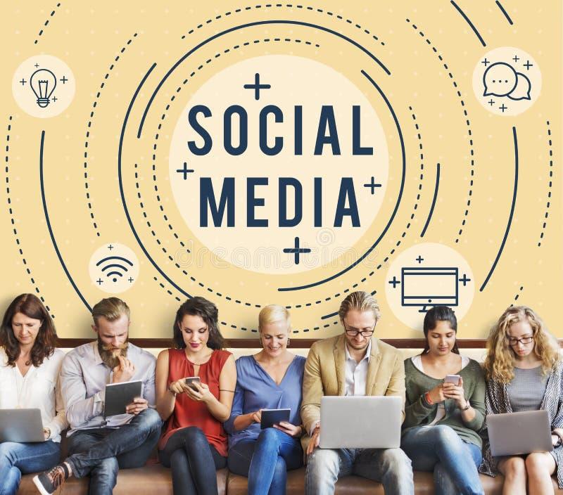 Κοινωνική γραφική έννοια τεχνολογίας δικτύων μέσων σε απευθείας σύνδεση στοκ φωτογραφία