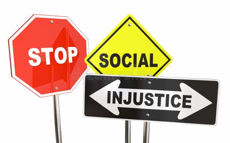 Κοινωνική δίκαιη ισότητα σημαδιών οδικών οδών αδικίας στάσεων απεικόνιση αποθεμάτων