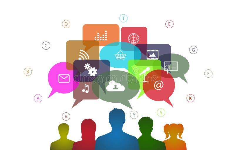Κοινωνική επικοινωνία Διαδίκτυο δικτύων Infographics απεικόνιση αποθεμάτων