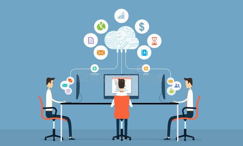 κοινωνική επιχειρησιακή σύνδεση ανθρώπων στο σύννεφο απεικόνιση αποθεμάτων