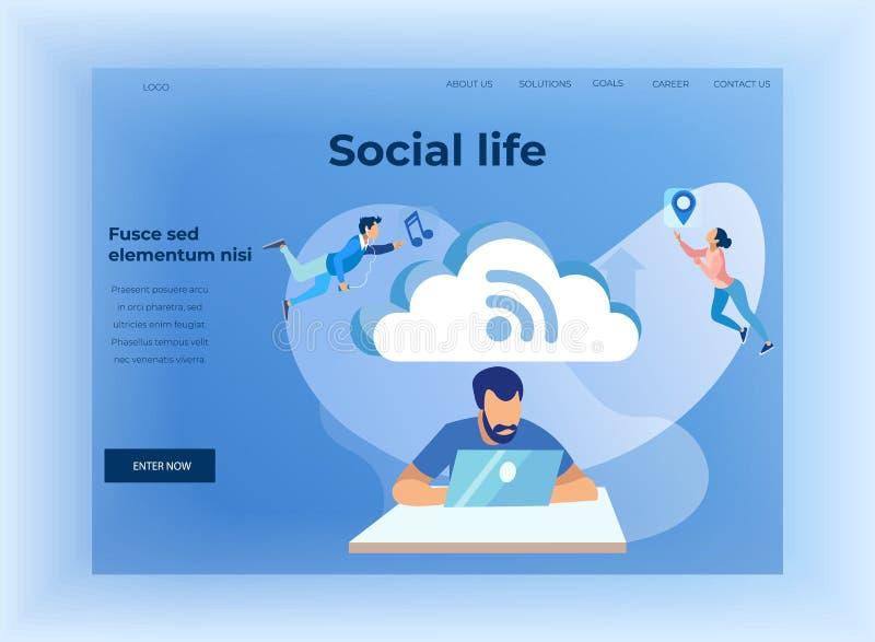 Κοινωνική ζωή και προσγειωμένος σελίδα σχεδίου αποθήκευσης σύννεφων ελεύθερη απεικόνιση δικαιώματος