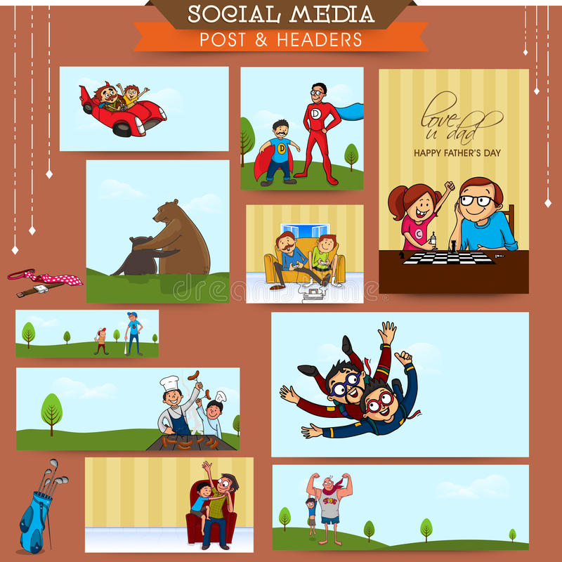 Κοινωνική θέση ή επιγραφή μέσων για την ημέρα του πατέρα απεικόνιση αποθεμάτων