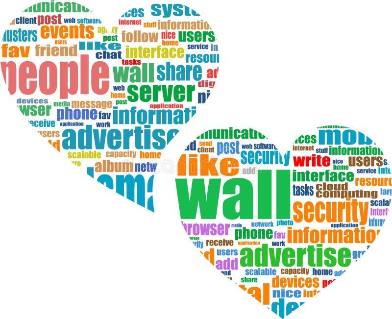 κοινωνική λέξη μέσων μάρκετινγκ καρδιών σύννεφων διανυσματική απεικόνιση