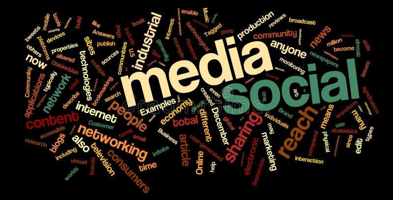 κοινωνική λέξη μέσων σύννεφ&omeg διανυσματική απεικόνιση