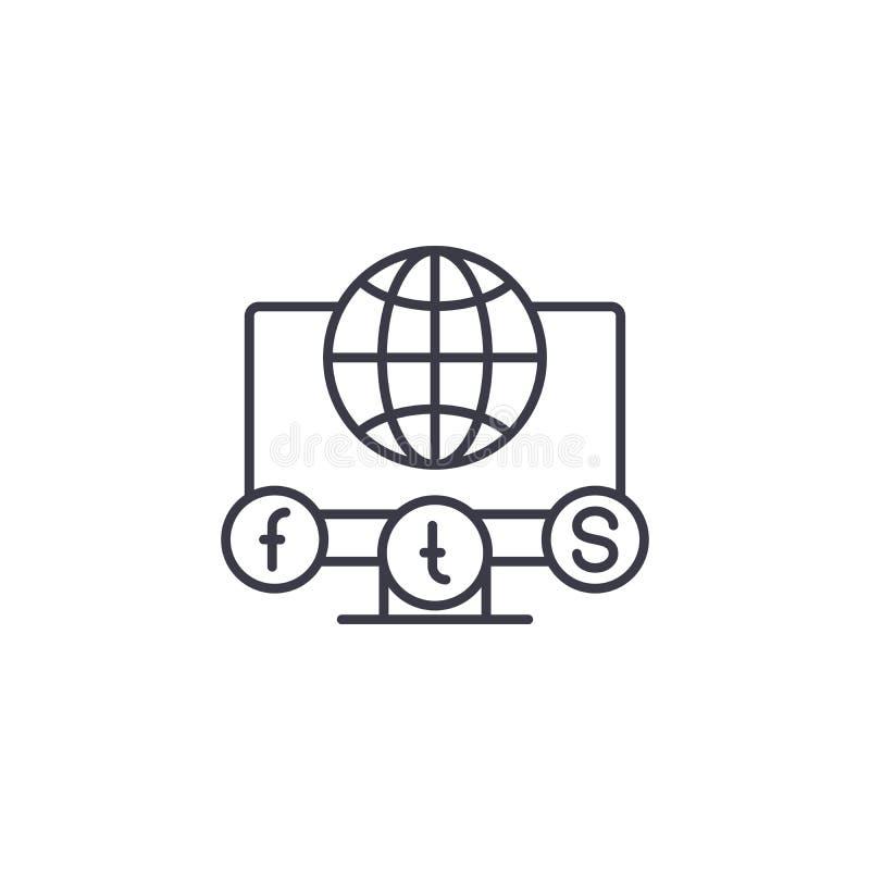 Κοινωνική μέσων έννοια εικονιδίων δικτύων γραμμική Κοινωνικό διανυσματικό σημάδι γραμμών δικτύων μέσων, σύμβολο, απεικόνιση ελεύθερη απεικόνιση δικαιώματος