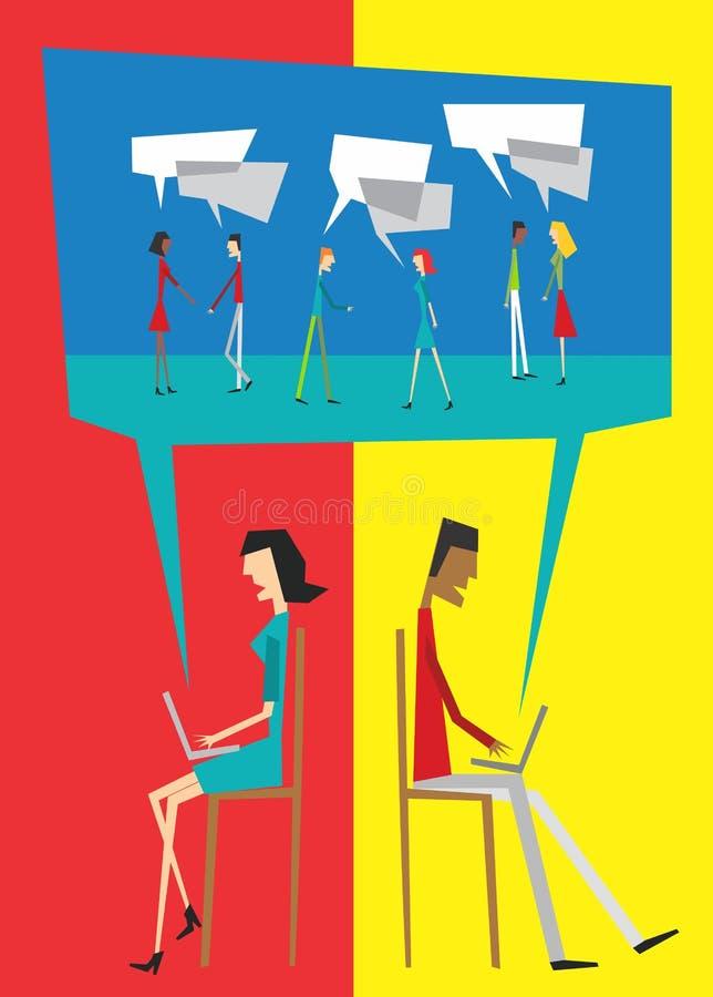 κοινωνική ομιλία αλληλ&epsil διανυσματική απεικόνιση