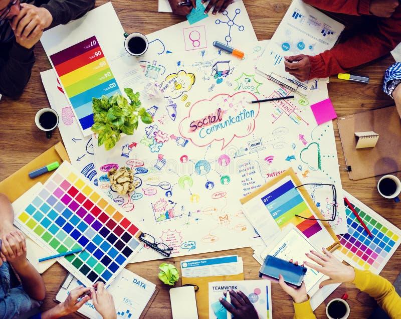 Κοινωνική συνεδρίαση του σχεδίου επικοινωνιών στοκ φωτογραφίες