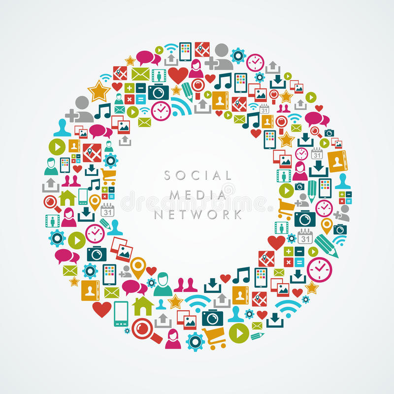 Κοινωνική σύνθεση κύκλων εικονιδίων δικτύων μέσων EPS1 διανυσματική απεικόνιση
