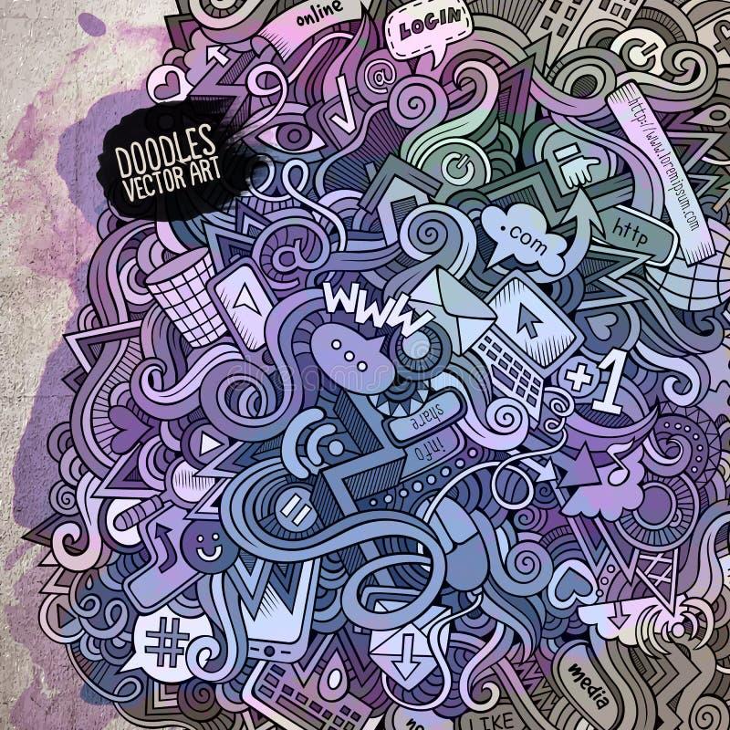 Κοινωνική τέχνη watercolor στοιχείων μέσων doodles διανυσματική απεικόνιση