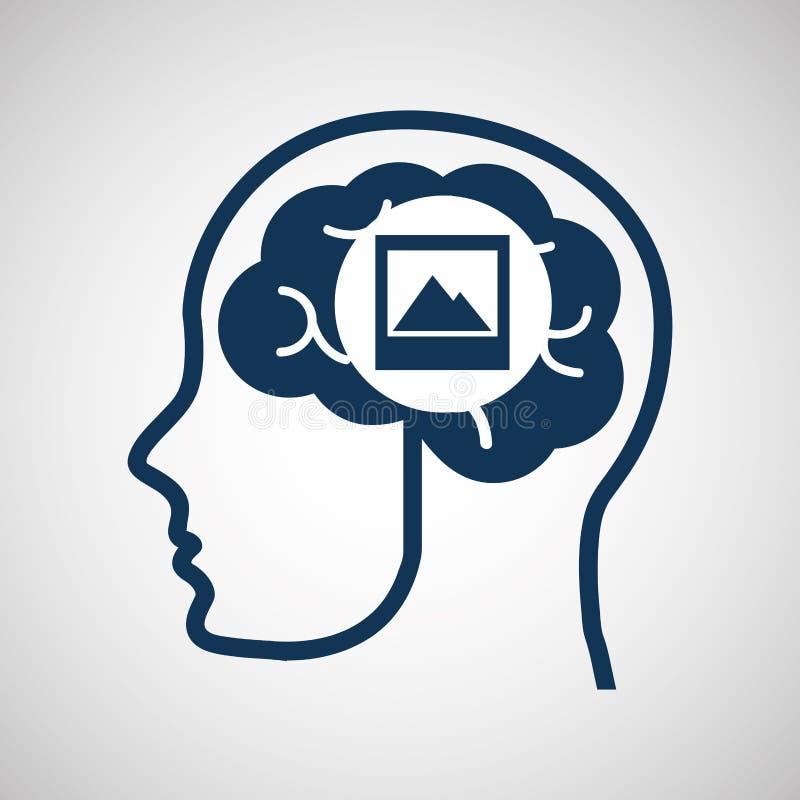 Κοινωνική φωτογραφία μέσων έννοιας, κεφαλιών και εγκεφάλου μέσων απεικόνιση αποθεμάτων