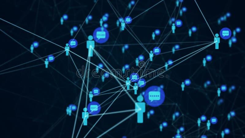 Κοινωνικοί άνθρωποι σύνδεσης δικτύων με τη δομή μορίων διανυσματική απεικόνιση